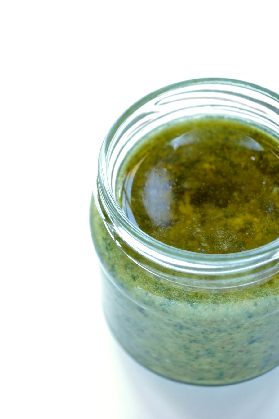 A glas of vegan basil pesto