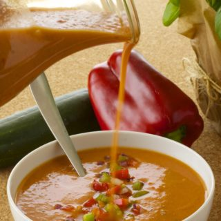 Pouring a bowl of Gazpacho
