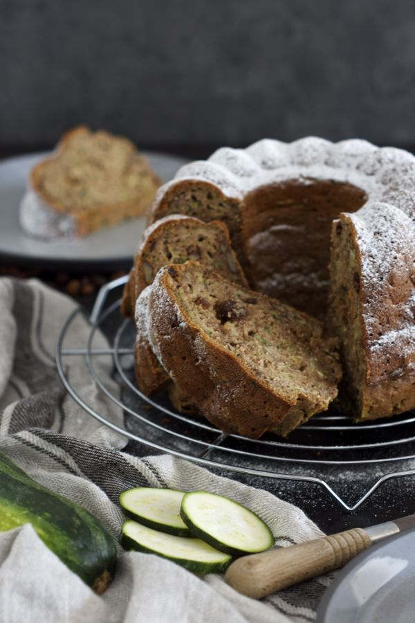 A piece of this Healthy Zucchini Bundt Cake #healtyfats #walnuts #lowonsugar