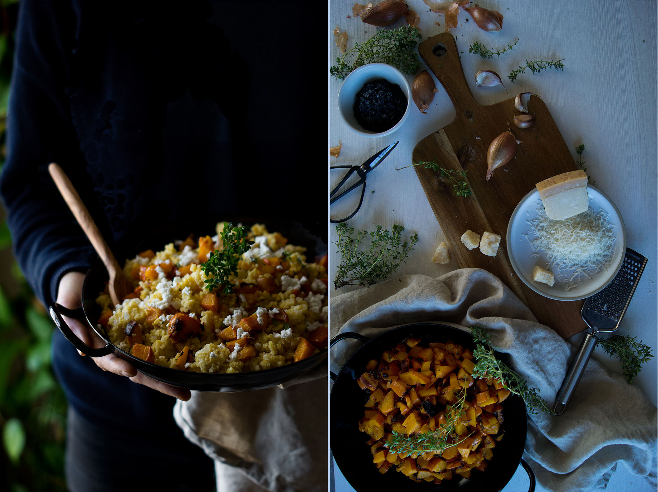 A comforting bowl of creamy roasted hokkaido millet risotto