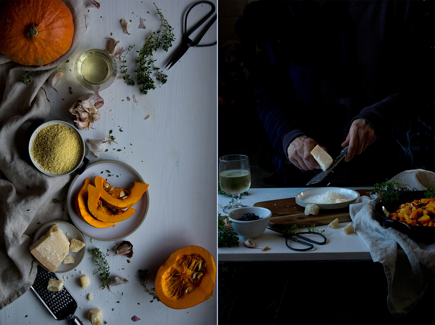 Prepping a comforting roasted pumpkin millet risotto