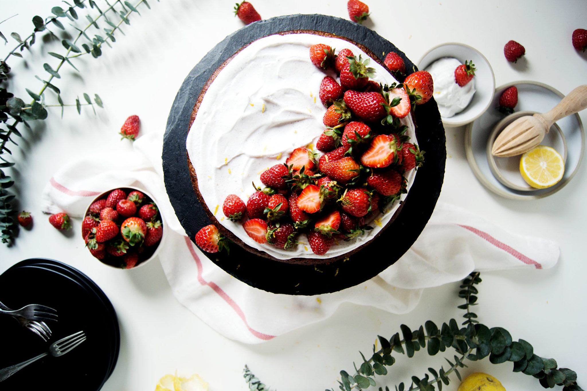 This fragrant, fresh vegan strawberry lemon cake is spring in cake form!