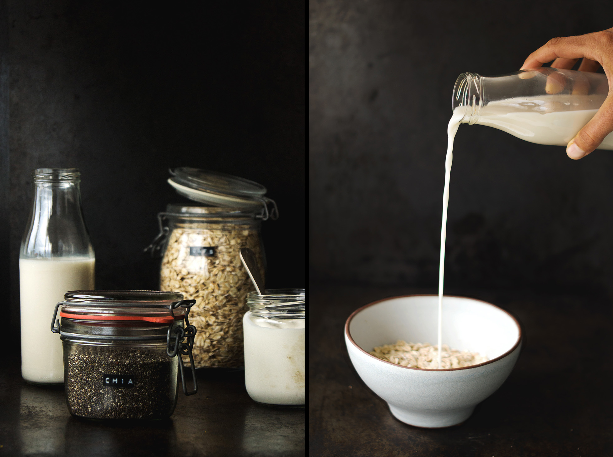 Simple Ingredients for a simple breakfast - chia, oats, milk & yoghurt