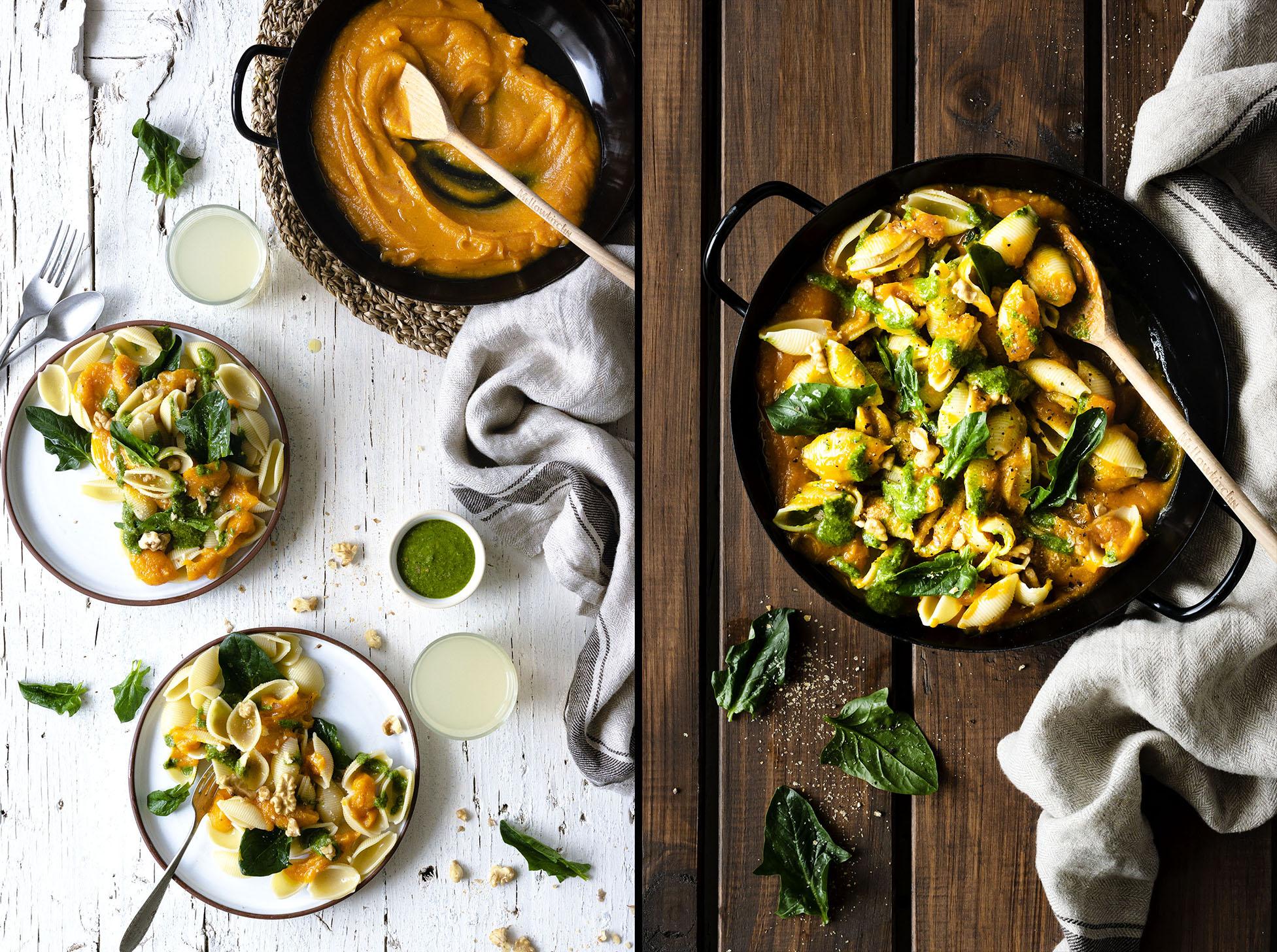 Extra-creamy Pumpkin Spinach Pasta