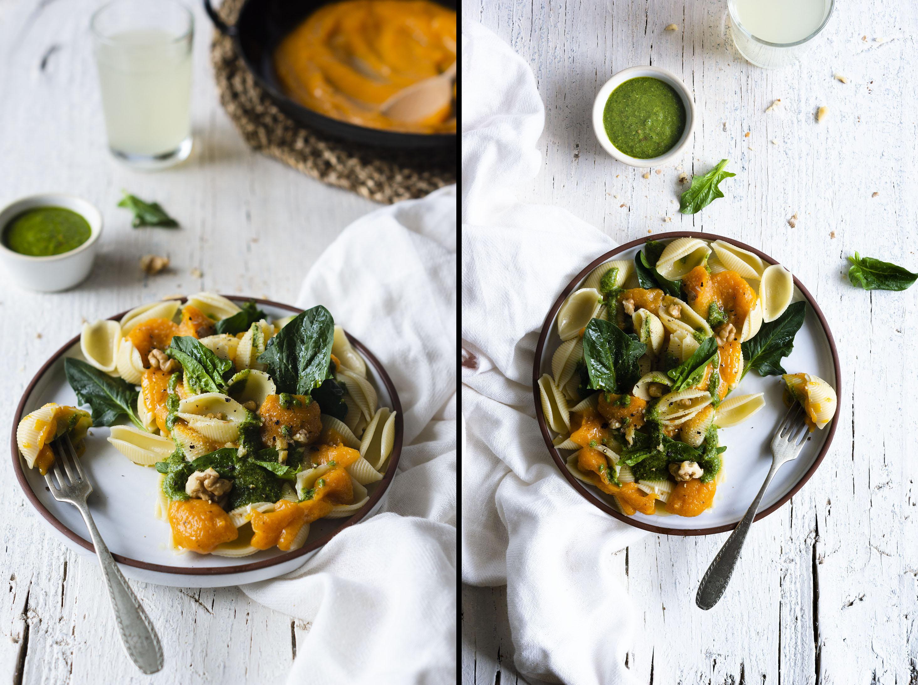 Extra-creamy vegan Pumpkin Spinach Pasta