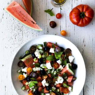 Greek Watermelon Salad with Mint Dressing