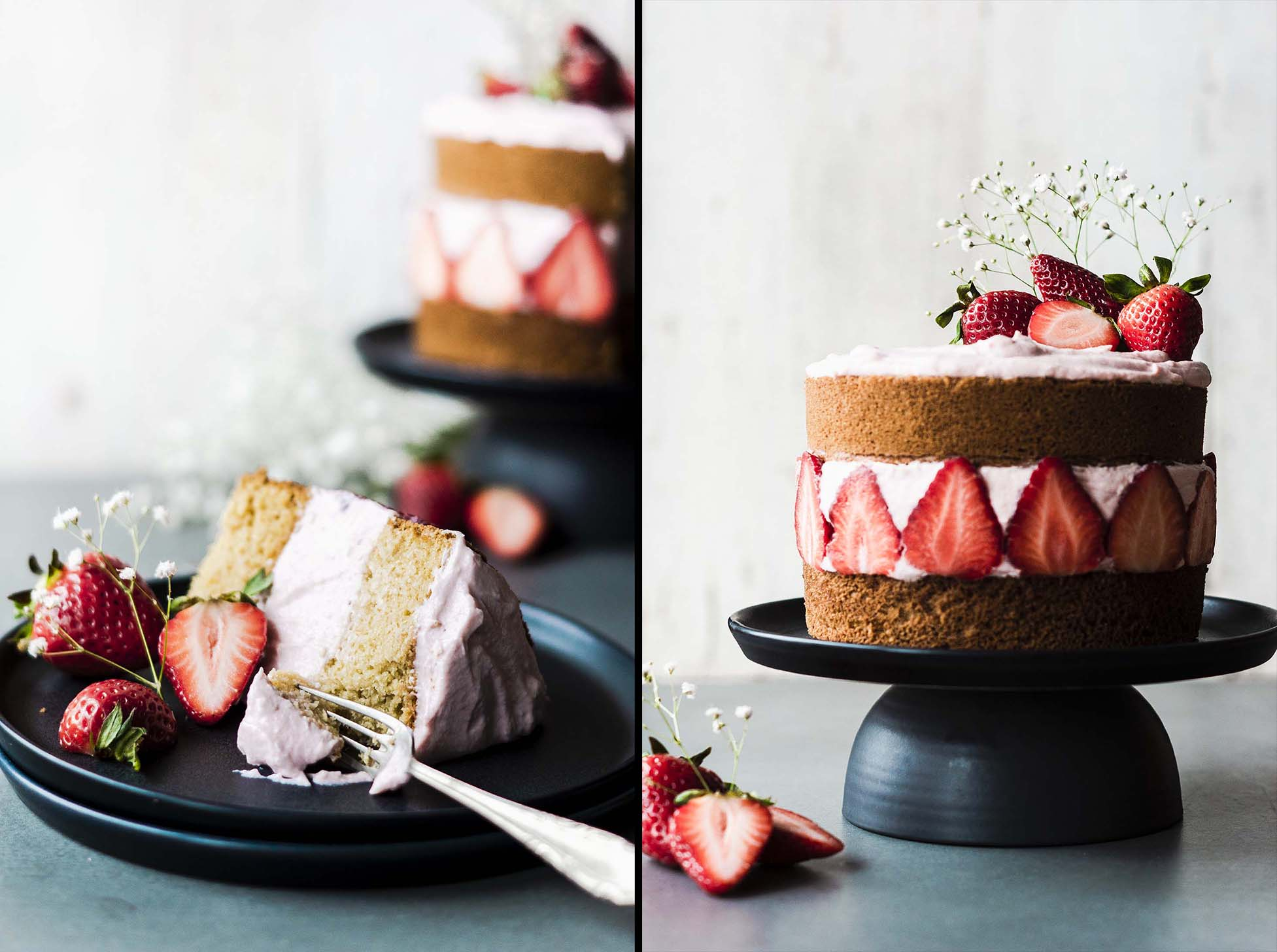 Dive into a piece of this Strawberry Mascarpone Coconut Cake