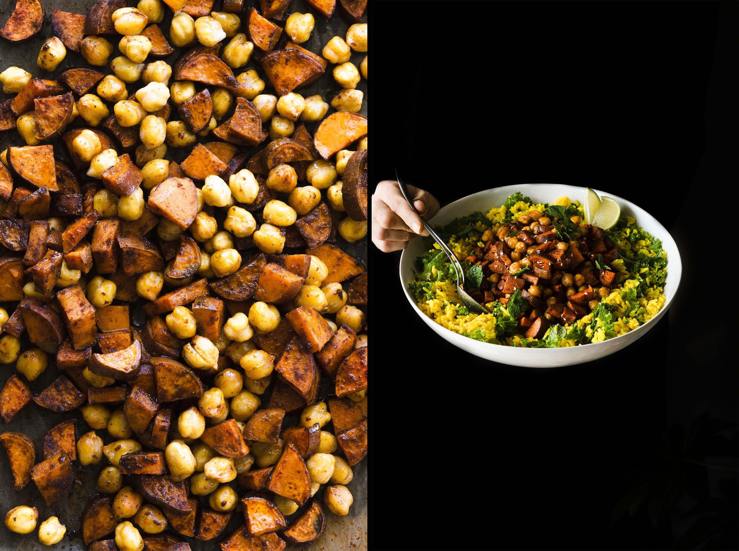 Crispy Chickpeas & Sweet Potatoes on golden rice