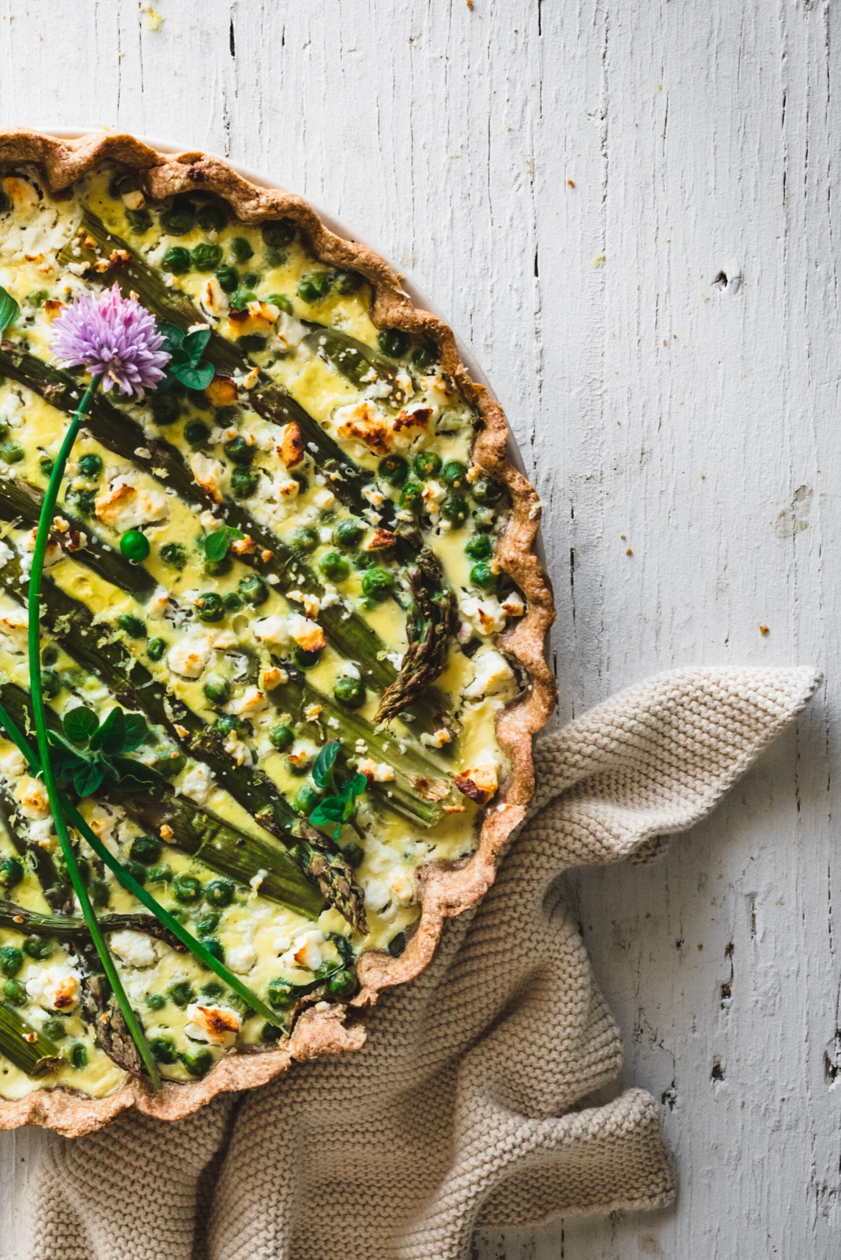 A delicious spring flavored quiche - food photography