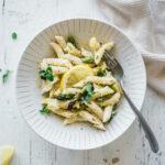Creamy baked feta & green asparagus pasta - food photography