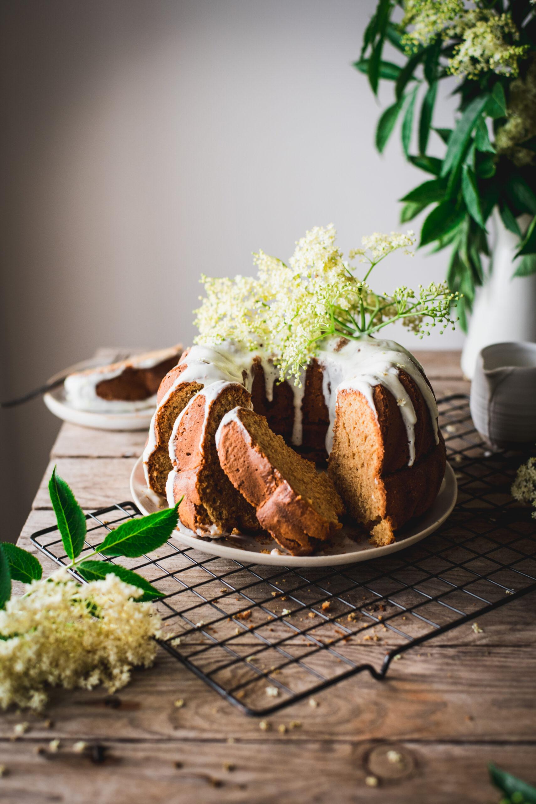 A slice of floral scented butter bundt cake