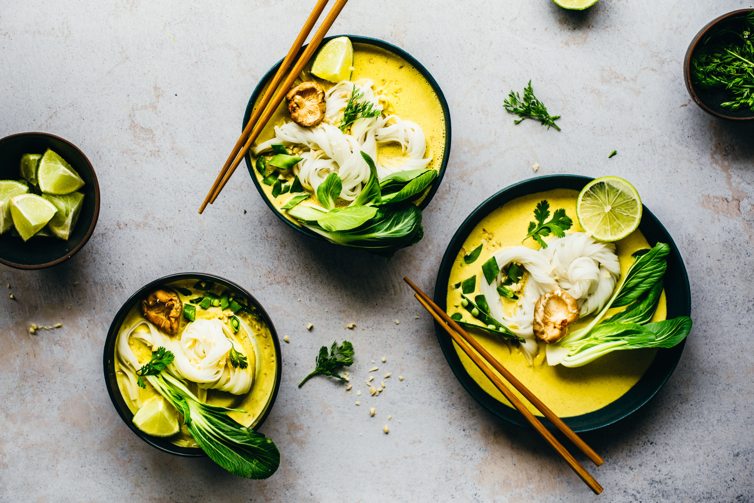Curry Noodle Soup with green veggies