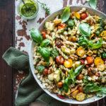 Pesto Pasta Salad with burst Tomatoes