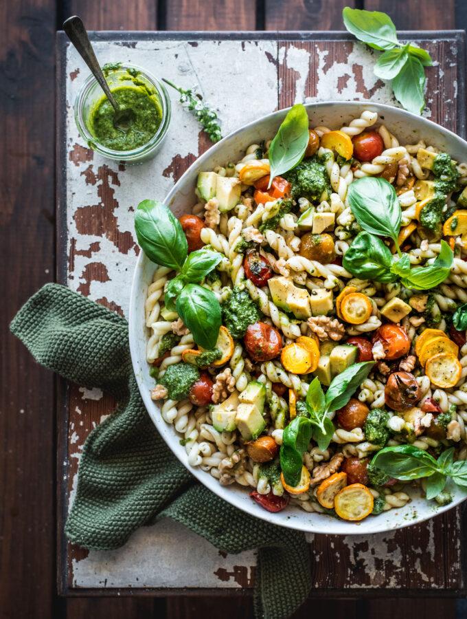 A big bowl of delicious pasta salad
